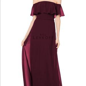 Wine Bridesmaid off the shoulder dress